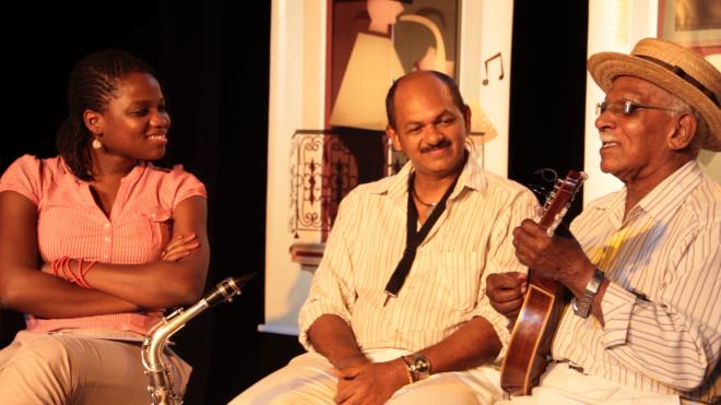 Tila Chitunda, Danda e Mestre Chocho. Foto: Divulgação