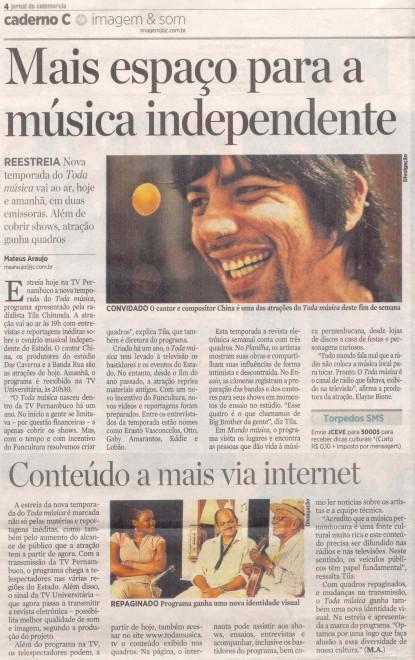Matéria publicada no Jornal do Commercio